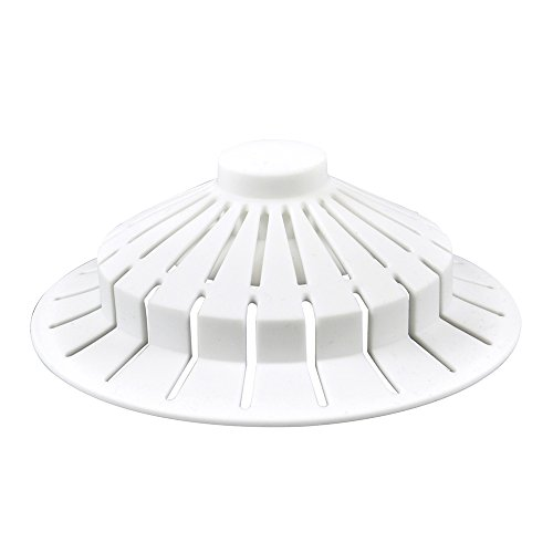 (DANCO Bathroom Bathtub Hair Catcher Strainer Drain Cover with Suction Cup Design, White, 4 inch x 1.5 inch, 1-Pack (10771))