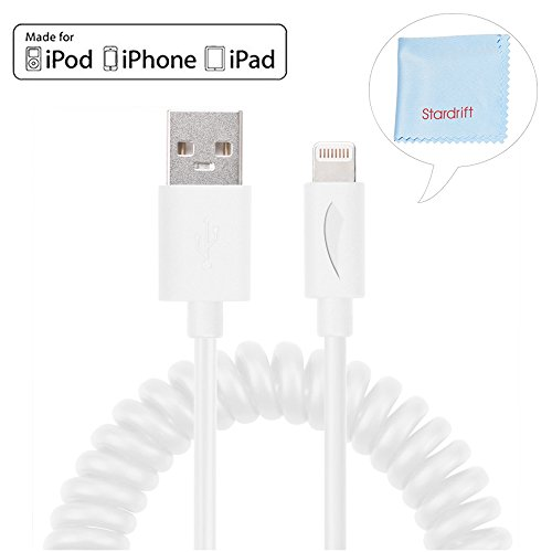 [Apple MFi Certified] Yellowknife 3.3ft Durable Spring Coiled Lightning Cable Sync Charging USB Cord for Apple iPhone 6 Plus / 6s Plus / 6s / 6 / 5 / 5s / 5c, iPad Mini 2 / 3 / 4 / iPad Air White (Coiled Apple Lightning Cable compare prices)