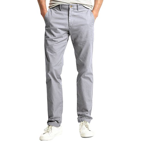 LOCALMODE Men's Casual Modern Fit Skinny Slim Chino Pants Trousers Light Grey 32
