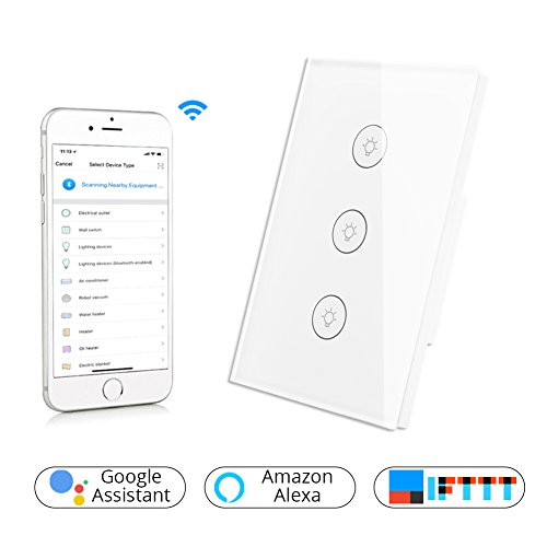 Gang Control (WiFi Smart Wall Touch Light Switch Glass Panel Wireless Remote Control by Mobile APP Anywhere Work with Amazon Alexa,Timing Function No Hub Required (Wall Switch 3 Gang))