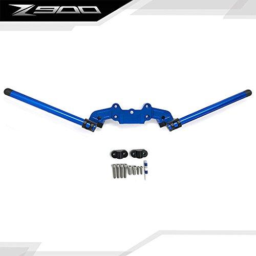 CNC Aluminum Clip-On Adapter Plate Handlebar Set For 2017 Kawasaki Z900 (Blue)