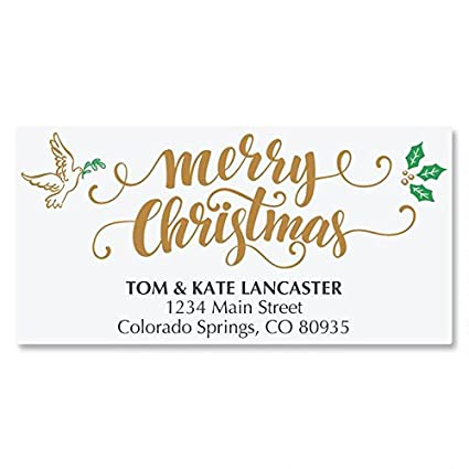rejoice calligraphy personalized christmas address labels set of 48 self stick