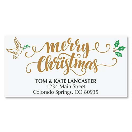 Rejoice Calligraphy Personalized Christmas Address Labels - Set of 48, self-stick