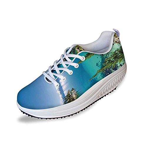 (Blue Stylish Shake Shoes,Tranquil View of Lake Tahoe Sierra Pines on Rocks with Turquoise Waters Shoreline for Women,8)