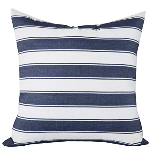 (SLOW COW Decorative Throw Pillow Cover Modern Farmhouse Stripe Cushion Cover for Couch Sofa Bed Decoration, 18 x 18 inches, White Mixed Navy Blue)