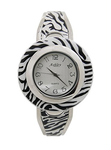 Ashley Princess Zebra Print Bangle Watch Easy Reader Dial - L21826 Silver Zebra (Watch Zebra)