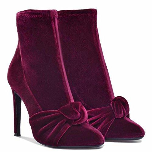L@YC Botas Redondas De Mujer Botas De TacóN alto De Terciopelo Rojo Botas EláSticas De Gran TamañO Red