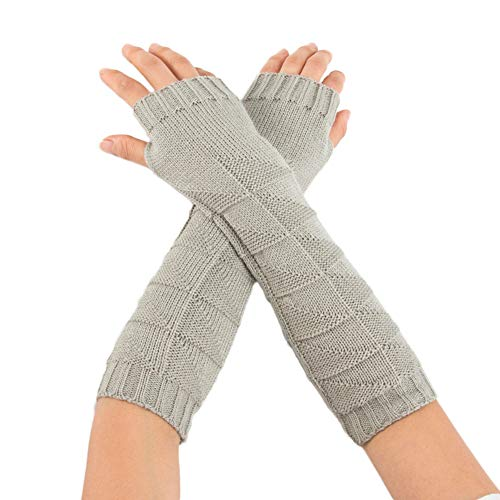 (liuxuelifg3✿ Pure Color Winter Women Girl Cable Knit Fingerless Gloves Cute Arm Warmers Mittens Gloves Women)