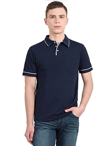 Color Block Piping (Allegra K Men Color Block Chest Pocket Piping Short Sleeves Polo Shirt Medium Navy Blue)