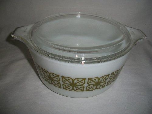 Vtg Pyrex Square Flower Verde Green (474-B) Casserole Baking Dish (1.5 Qt) & ()