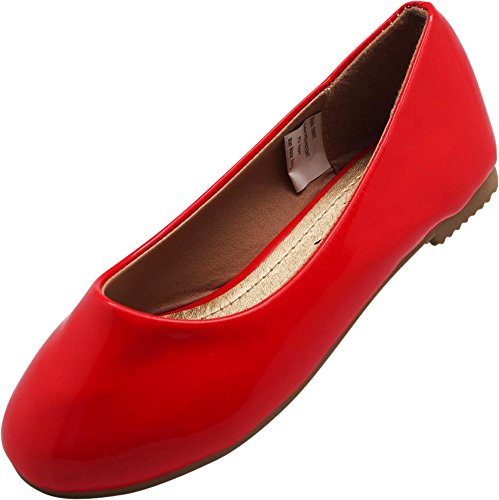 (NORTY - Little Girls Patent Ballet Flat, Red)