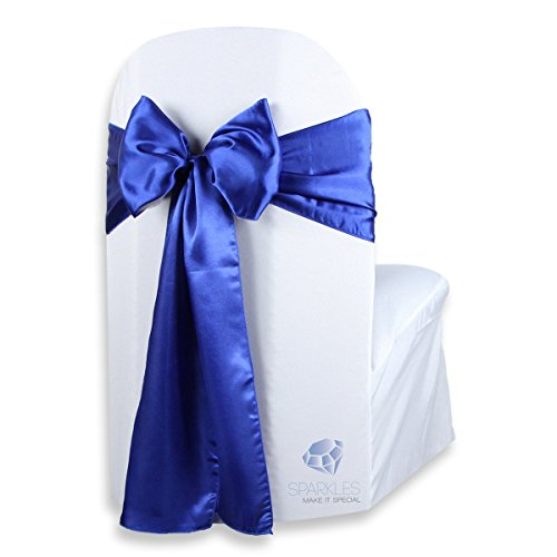 Sparkles Make It Special 50 pcs Satin Chair Cover Bow Sash - Royal Blue - Wedding Party Banquet Reception - 28 Colors Available