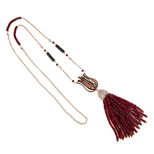 Tulip Statement Tassel Necklace Ruby Rose Gold