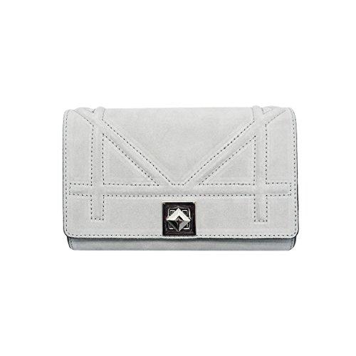 DIONISIA CLUTCH Italian mini crossbody clutch bag, dark nickel chain flap purse, evening bag, crossbody bag, smooth quilted leather (CLUTCH light grey)