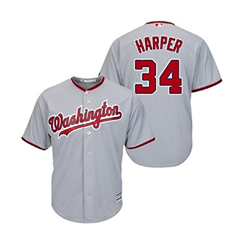 Majestic Bryce Harper Washington Nationals MLB Youth Gray Road Cool Base Replica Jersey (Youth Medium 10-12)