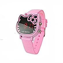 KiwiBaby Fashion Cute Led Hello Kitty Style Watch for Girl Women Kids Children (pink)