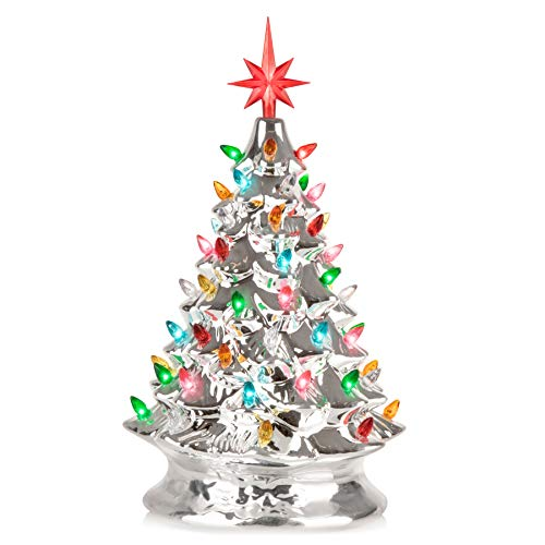 RJ Legend Christmas Mini Ceramic Tree - Festive Lighted Christmas Tree Décor - Vintage Tabletop Christmas Decorations - Retro Winter Tree in Silver - 8.5 x 15-inch Shiny Holidays Décor (Festive Christmas Tree)