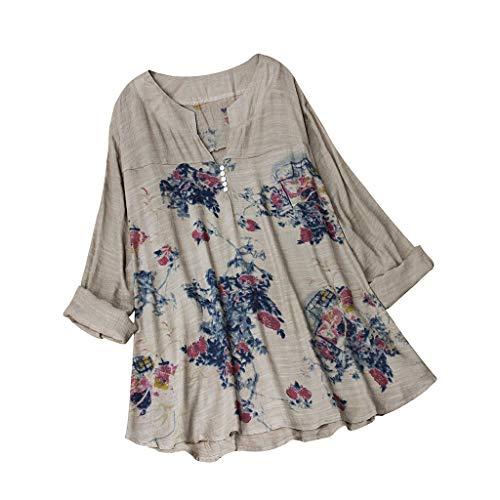 TUSANG Women Tees Vintage V-Neck Shirts Floral Printing Patch Long Sleeves Top T-Shirt Blouse Loose Comfy Tunic -