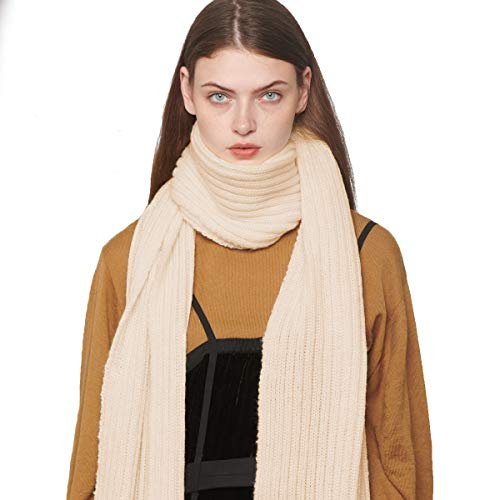 CACUSS Unisex Winter Long Thick Cable Knitted Scarf Soft Warm Scarves for Cold Weather (Beige)