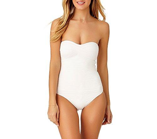 Twist Thin (Anne Cole Women's Twist Front Shirred One Piece Swimsuit, White, 6)