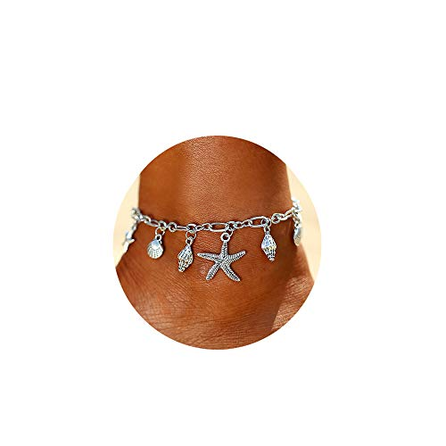 (FINETOO Silver Sea Beach Anklet Adjustable Handmade Shell Conch Starfish Pendant Charm Anklet Foot Jewelry Gifts for Women)