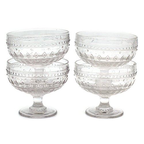 - Euro Ceramica Fez Glassware Collection Footed Compote/Dessert Bowl Glasses, 13oz, Set of 4, Clear