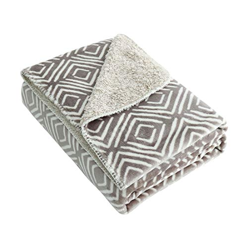 uxcell Reversible Floral Fleece Throw Blanket with Berber Reverse,Soft Fuzzy Plush Flannel Blanket for Couch/Sofa,50