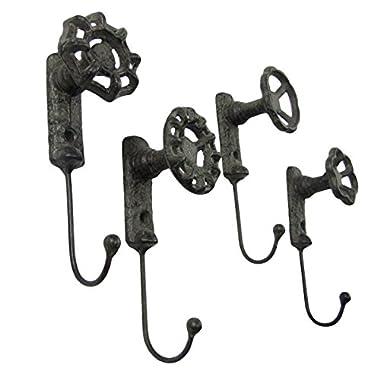 Antique Style Garden Spigot Faucet Handle Wall Mount Hook Set 4 Key Ring Hooks