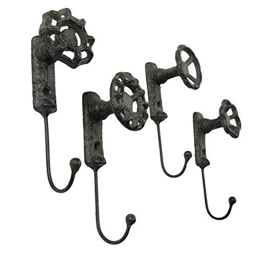 Hook Home Garden Decor - Antique Style Garden Spigot Faucet Handle Wall Mount Hook Set 4 Key Ring Hooks