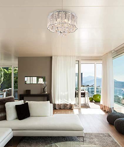 Cristal moderne gouttes de pluie gouttelettes allumant encastr/é montage LED plafonnier luminaire suspension pour salle /à manger salle de bain chambre /à coucher salon 6 ampoules LED E14 requis