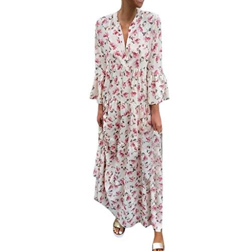Eoeth Big Sale Fashion Women Summer Printed V Neck Beach Party Long Dresses Bohemian Dresses Banquet Business Gown Pink