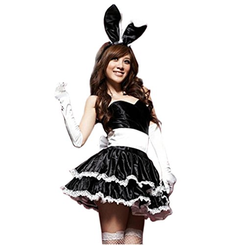 [Euone Bunny Rabbit Outfit Fancy Dress Sexy Lingerie Lace Up Bodysuit (Black)] (Bunny Suit Sexy)
