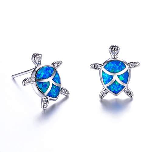 Hermosa Mom Gifts 925 Sterling Silver Sea Turtle Blue Opal Women Pendant Necklace Earrings (Earrings003) ()