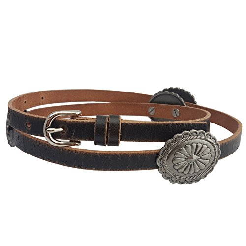 Western Skinny Leather belt with Conchos in Black L/XL