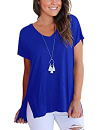 e9ff41f22f7 Women s Short Sleeve High Low Loose T Shirt Basic Tee Tops with Side Split