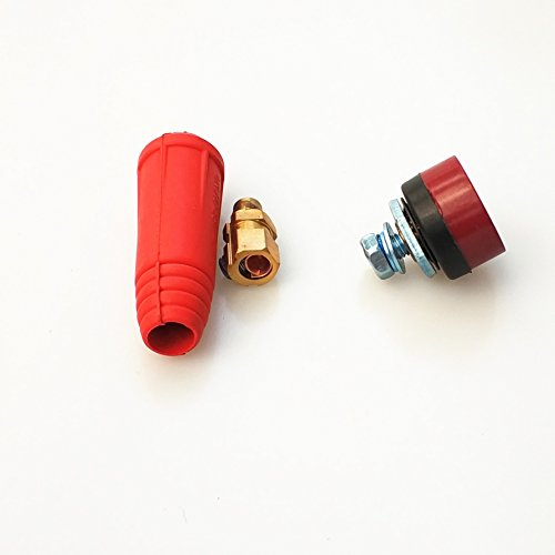 Welding Cable Connector Socket Set, all Sizes available (#0-#2/0 50-70sqmm, Red)