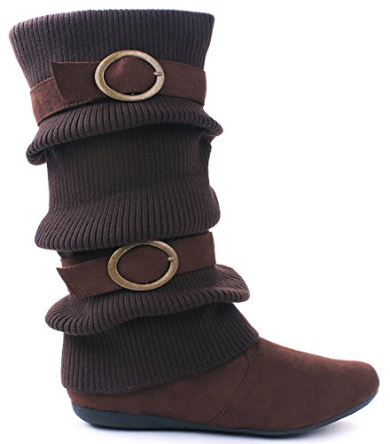 Womens Mid Calf Round Toe Twin Buckle Slouchy Comfortable - Winter Warm Flat Walking Boots