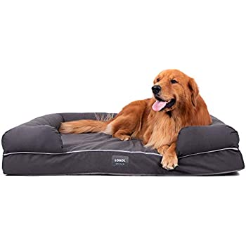"""LOAOL 4""""Durable Waterproof Memory Foam Pet Bed Mattress Orthopedic Dog Sofa Couch with Changeable Cover (XL, Woven Gray)"""