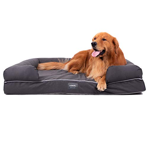LOAOL 4'Durable Waterproof Memory Foam Pet Bed Mattress Orthopedic Dog Sofa Couch with Changeable Cover (XL, Woven Gray)