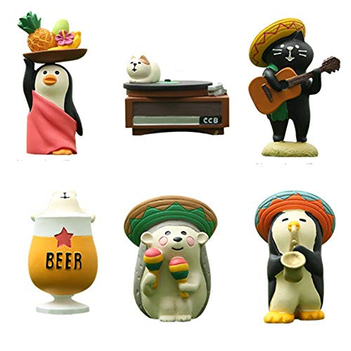 Kimkoala Miniature Funny Figurines Toys, 6 Pcs Japanese Creative Cute Music Series Animal Figures Collection Toy Set for Miniature Dollhouse Home Decoration from Kimkoala
