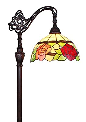 Amora Lighting AM070FL12 Tiffany Style Roses Reading Floor Lamp 62 In