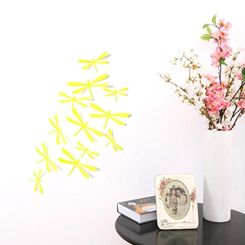 12PCS 3D PVC Magnet Butterflies DIY Wall Sticker Home Decor Yellow - 6