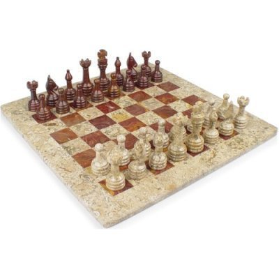 Onyx Chess Set Red (Coral Stone & Red Onyx Marble Staunton Chess Set- 16