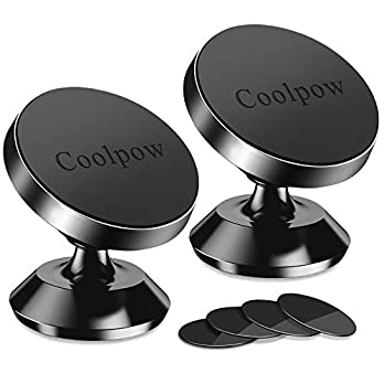 [ 2 Pack ] Magnetic Phone Mount, [ Super Strong Magnet ] [ with 4 Metal Plate ] car Magnetic Phone Holder, [ 360…