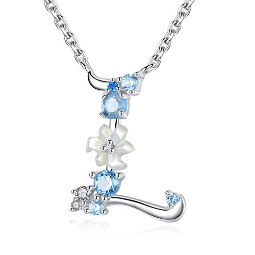 - VIKI LYNN Letter L Initial Necklace 925 Sterling Silver Cubic Zirconia Personalized Gifts for Girls