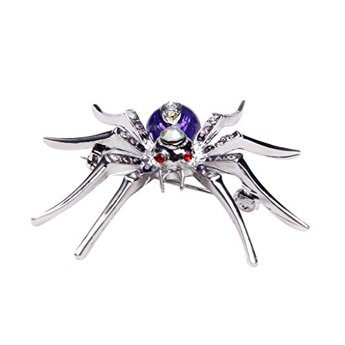Brooch Stylish Pin (Dazzling Luxurious and Stylish Spider Clip Pin Brooch w/ Rhinestone - Purple)