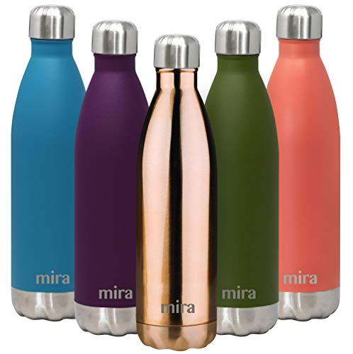 MIRA 25 Oz Stainless Steel Vacuum Insulated Water Bottle   Double Walled Cola Shape Thermos   24 Hours Cold, 12 Hours Hot   Reusable Metal Water Bottle   Leak-Proof Sports Flask   Rose Gold