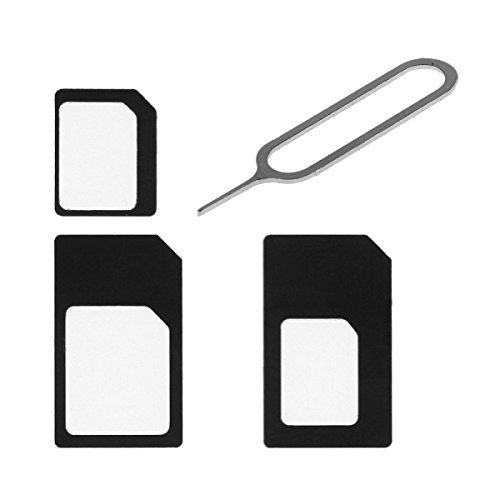 Phonaro A1 Nano Sim Card Adapter, 4-in-1 Micro Sim Adapter with Eject Pin Key Retail Package for iPhone 5/5S/6/6S/Samsung