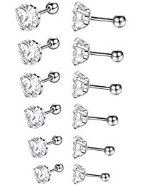 6 Pairs 18G Stainless Steel Stud Earrings for Men Women Tragus Cartilage Helix Barbell Earrings CZ 3-8mm