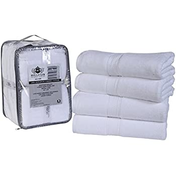 """White Bath Towels - 600 GSM 100% Combed Cotton Bath Towels Set- 4 Piece Bath Towels set- 28"""" x 56"""" Bath towels - Super Soft, Highly Absorbent Bath Towels - White Bath Towels BY HILLFAIR"""